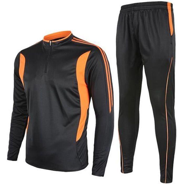 cozy fresh shopping size 7 Survetement Football training Maillot de Foot veste manche  longue+pantalon-Noir Orange Survetement enfant Survetement Homme