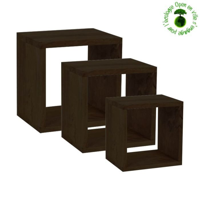 kit de 3 tag res en bois de shisham massif lon achat vente meuble tag re kit de 3. Black Bedroom Furniture Sets. Home Design Ideas