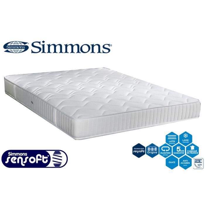 matelas simmons ressorts sensoft accueil latex 90x190 ferme 23 cm song o achat vente. Black Bedroom Furniture Sets. Home Design Ideas