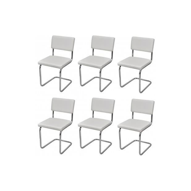 superbe set de 6 chaises de salon design et moderne en pu cuir blanc achat vente chaise. Black Bedroom Furniture Sets. Home Design Ideas