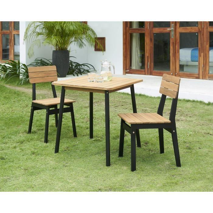 Ensemble Repas De Jardin 2 Personnes Table 70x70cm Et 2 Chaises