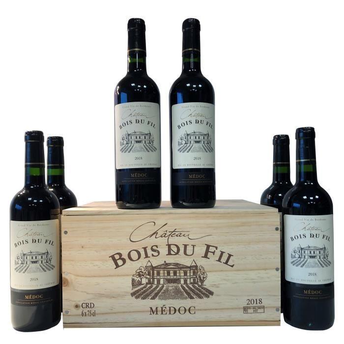Château Bois du Fil 2018 Médoc - Vin rouge de Bordeaux + Caisse Bois