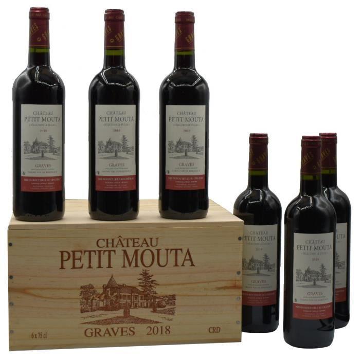 Château Petit Mouta 2018 Graves - Vin rouge de Bordeaux en Caisse bois