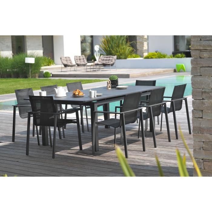 DCB GARDEN Table Miami en aluminium avec rallonge automatique + 8 fauteuils textilène - 240-300 x 100 cm - Gris anthracite