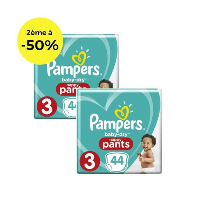 Pampers Baby-Dry Pants Taille 3 x44 - Lot de 2