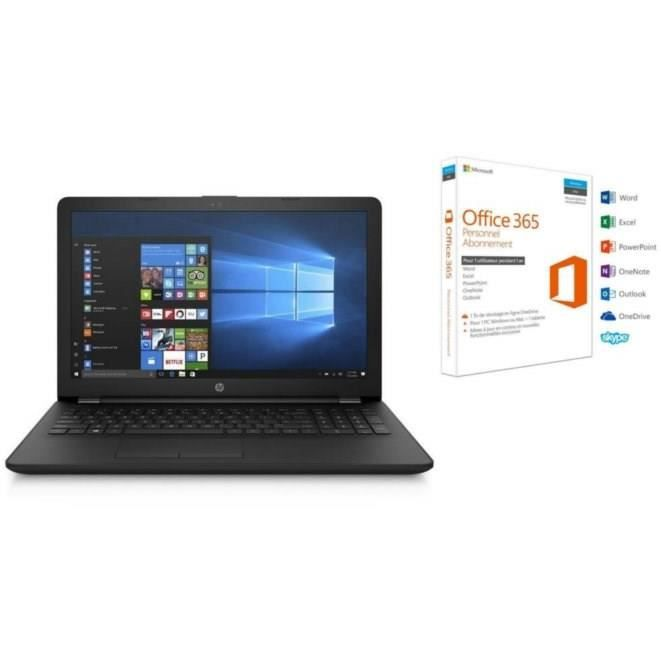 Hp pc portable hp15bw058nf 15.6 4go de ram windows 10 amd e2 9000 amd radeon r2 disque dur 500 go office 365