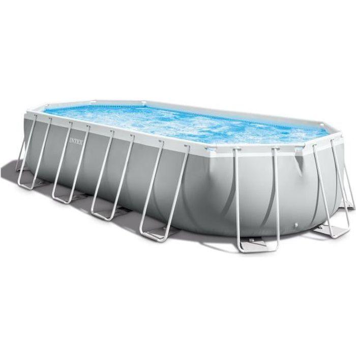 Kit piscine Intex prism frame - Ovale tubulaire - (l)6,10 x (l)3,05 x (h)1,22m