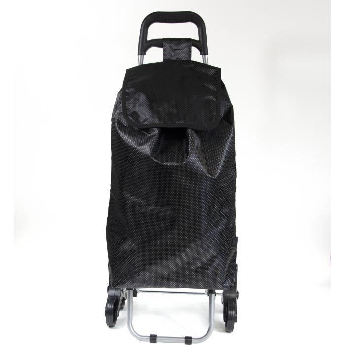 Chariot de course 40 L noir KINSTON - En aluminium et polypropylène - 2 roulettes