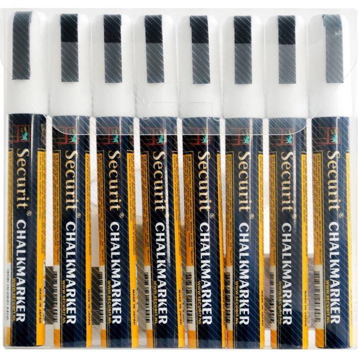 Feutres-craie à encre liquide Blanc Securit® - lot de 8 - medium 2-6mm Nib - pochette. 14,5x2,2x1,7cm