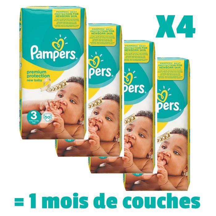 PAMPERS New Baby Taille 3 - 4 à 9kg - 200 couches - Format pack 1 mois