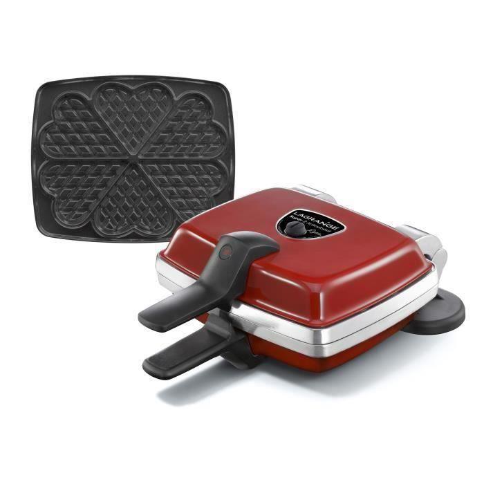 LAGRANGE Gaufrier Super 2 Antiadhésif - 1000W - 1 jeux de plaques : Gaufres cœur - Rouge
