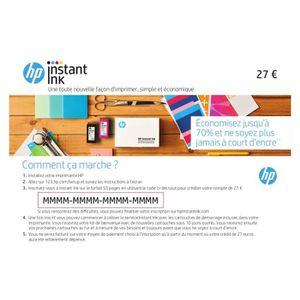CARTOUCHE IMPRIMANTE HP Instant INK - 1 an - 9 mois + 3 mois dans l'imp
