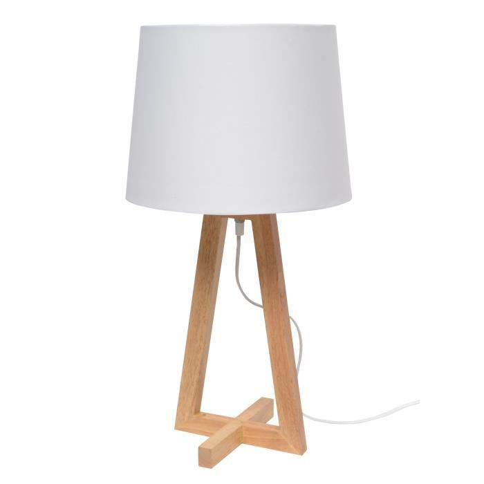bicroix lampe poser pied bois naturel en croix achat vente ticone lampe poser bois. Black Bedroom Furniture Sets. Home Design Ideas