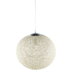LUSTRE ET SUSPENSION BAYA Suspension boule rotin Ø35cm blanche. Hauteur