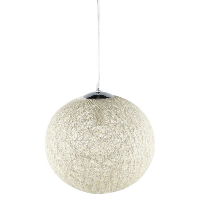 Baya suspension boule rotin 35cm blanche hauteur plafond for Suspension boule noire
