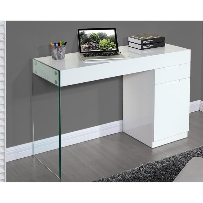 Crea bureau contemporain en bois verre tremp blanc l for Meuble bureau 90 cm