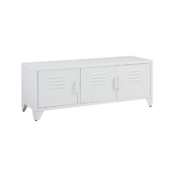 camden meuble tv industriel en m tal laqu blanc l 120 cm achat vente meuble tv camden. Black Bedroom Furniture Sets. Home Design Ideas