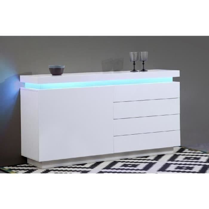 flash buffet contemporain blanc laqu avec led l 150 cm achat vente buffet bahut flash. Black Bedroom Furniture Sets. Home Design Ideas