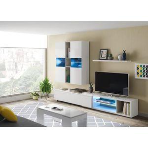 MEUBLE TV NOON Meuble TV LED - Décor Ciment et blanc brillan