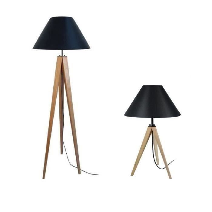 tosel lampadaire lampe poser tr pied bois massif. Black Bedroom Furniture Sets. Home Design Ideas