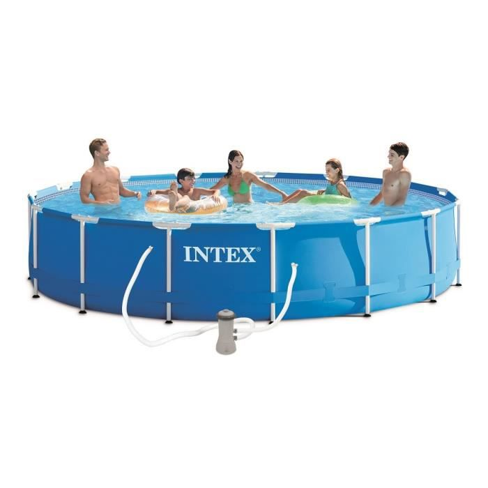 Kit piscine tubulaire intex ronde 4 57m x 84cm achat for Piscine ronde intex