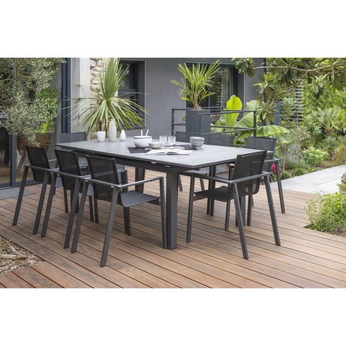 DCB GARDEN Table Miami en aluminium et verre avec rallonge automatique + 8  fauteuils - 240-300 x 100 cm - Gris anthracite