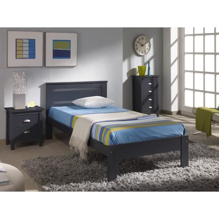 dina lit enfant sommier contemporain en bois pin massif gris l 90 x l 190 cm achat vente. Black Bedroom Furniture Sets. Home Design Ideas