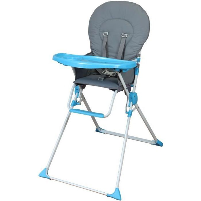 Bambikid Chaise Haute Fixe Gris Turquoise Gris Et Turquoise