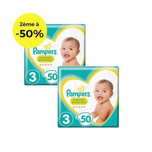 COUCHE PAMPERS Premium Protection Géant T3 X50 Lot de 2
