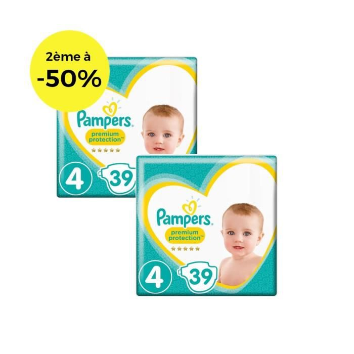 COUCHE PAMPERS Premium Protection Géant T4 X39 Lot de 2