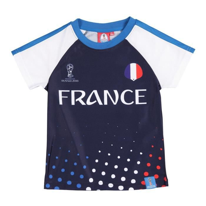 fifa france t shirt coupe du monde 2018 enfant gar on bleu marine marine achat vente t. Black Bedroom Furniture Sets. Home Design Ideas