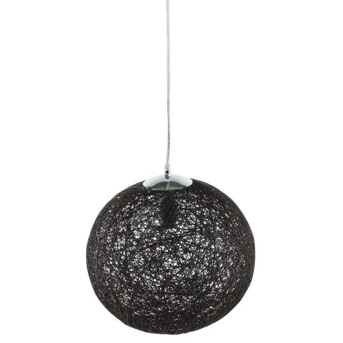 Baya lustre suspension boule rotin 35cm noire hauteur for Suspension boule noire