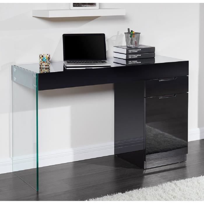 crea bureau contemporain en bois verre tremp noir l. Black Bedroom Furniture Sets. Home Design Ideas