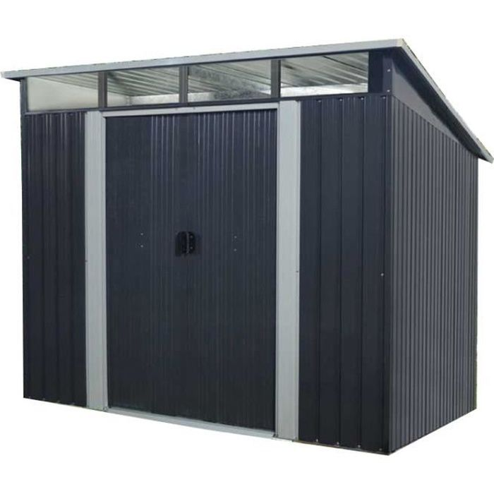Abri de jardin en métal 4,59m² - 2 portes coulissantes - Gris anthracite