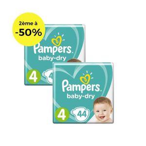 COUCHE PAMPERS Baby Dry T4 8 à 16kg, Lot de 2 - 88 couche