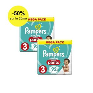 COUCHE Pampers Baby-Dry Pants Taille 3, 6 à 11 kg, 184 Co
