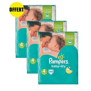 COUCHE PAMPERS Baby Dry Taille 4 - Lot de 3 Géants - 132