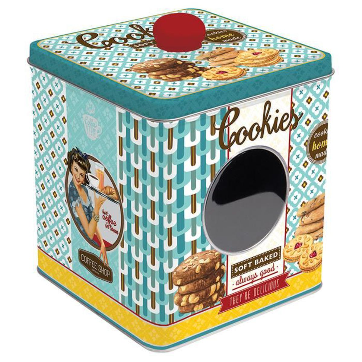 Boîte à Cookies avec Fenêtre SOFT BAKED en Métal Bleu - de