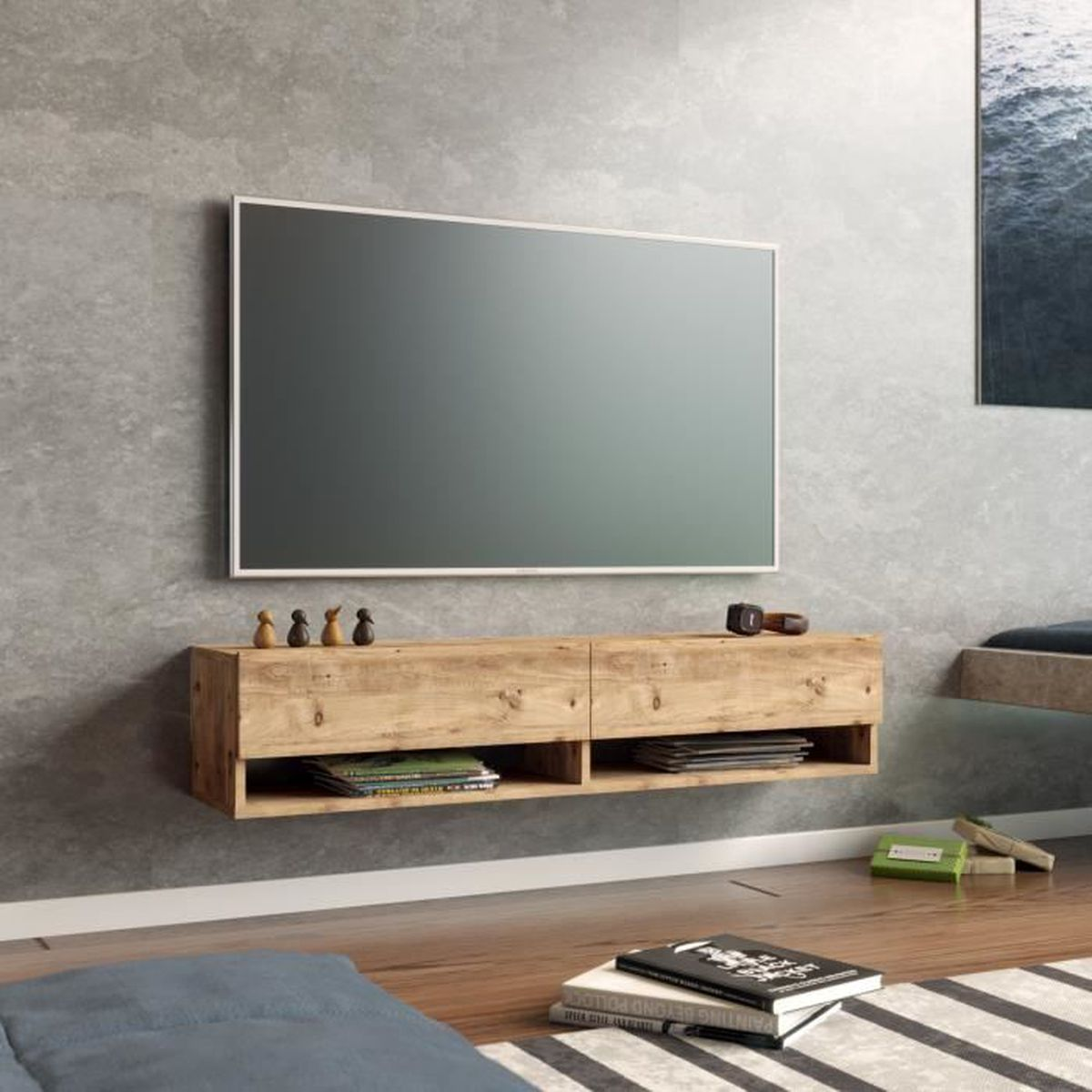 ensemble meuble tv suspendu