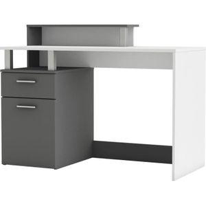 BUREAU  ORACLE Bureau multimédia blanc et gris - L 140 cm