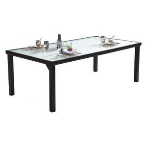 TABLE DE JARDIN  Table de jardin aluminium noir plateau verre tremp