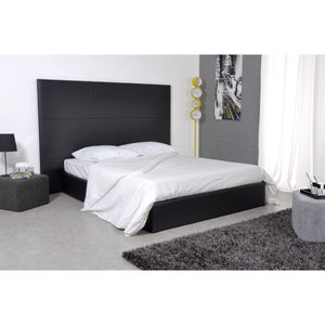 skin lit 160x200 pu noir avec grande t te de lit achat. Black Bedroom Furniture Sets. Home Design Ideas
