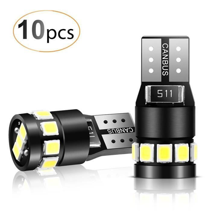10PCS T10 LED Ampoules Voiture 12V Lampe W5W 194 168 2825 Xénon 6000K 2835 Chipset Phare Auto Veilleuse Canbus ANTI ERREUR-Blanc