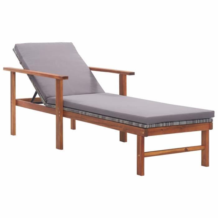 Chaise longue de jardin et coussin Résine tressée et bois d'acacia - Bains de soleil, Fauteuil de Jardin, Transat jardin - Gris