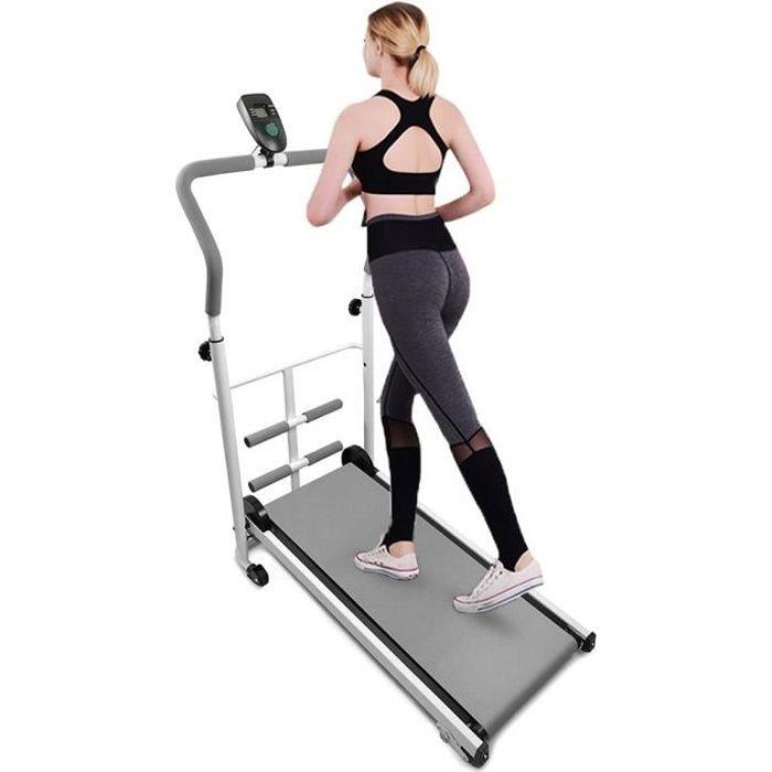 HEk Tapis de Course Roulant Manuel Pliable Courir Marcher écran LED Fitness Musculation - Gris