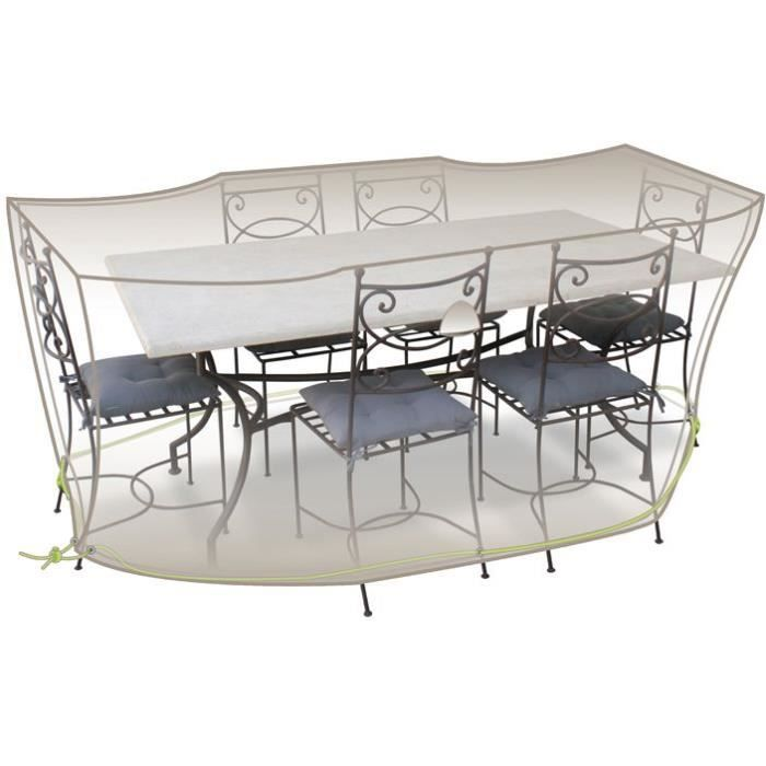 Housse table rectangle + chaises - 6 à 8 personnes - gris mastic