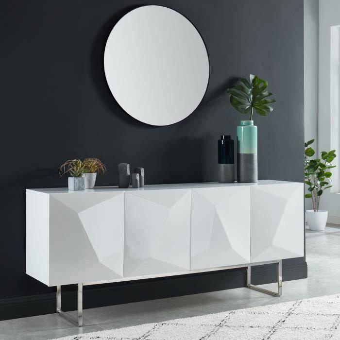 GEME Buffet 4 portes à relief - laqué blanc brillant - L180cm