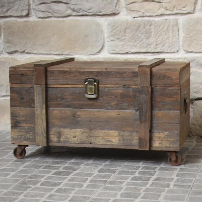 Grand Coffre en Bois Malle à Roulettes Style Ancien 80 cm x 49 cm x 48 cm - 3000-BIS-Coffre