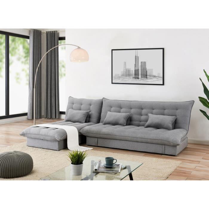 Canapé d'angle convertible et modulable en tissu gris