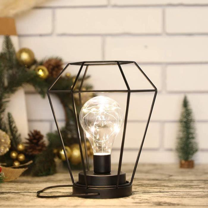 Lampe de table de chevet à piles 21cm haute diamant sans fil batterie lampe suspendue avec ampoule LED Edison pour balcon mais[114]